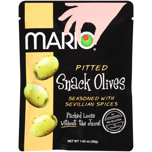 Mario Pitted Sevillian Spices Snack Olives, 1.05 Oz (Pack of 12)