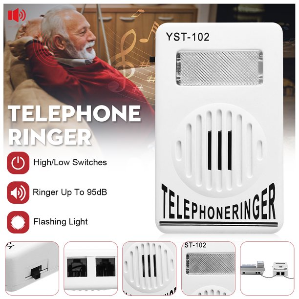 White ON OFF Switch Extra-Loud Telephone Ring Sound ...