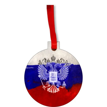 Flag Russia Russian Union Jack Paint Style Flag Round Shaped Flat Hardboard Christmas Ornament Tree Decoration - Unique Modern Novelty Tree Décor Favors - Union Jack Decorations