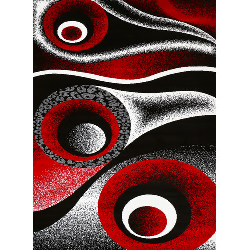 Persian Rugs 1504 Red Circle Design contemporary area rug
