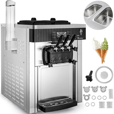 BestEquip 2200W Commercial Soft Ice Cream Machine 3 Flavors 5.3-7.4Gallons/H Auto Clean LED Panel Perfect for Restaurants Snack Bar supermarkets Ice Cream Agitator