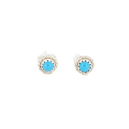 Delicate $80 Retail Tag Authentic Karen McCray Navajo .925 Sterling Silver Natural Turquoise Native American Stud Earrings