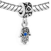 2 Sided Blue Hamsa Eye Hand Protection Against Evil Eye Dangle Charm Jewelry Bead Fits Pandora Compatible Bracelets