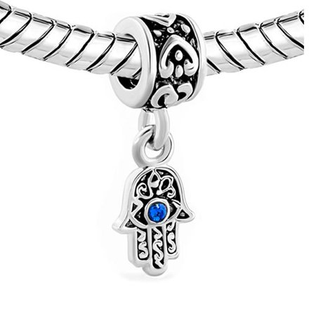 2 Sided Blue Hamsa Eye Hand Protection Against Evil Eye Dangle Charm Jewelry Bead Fits Pandora Compatible Bracelets