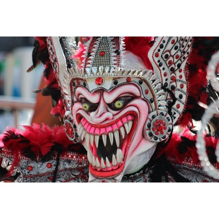 Scary Carnival (Peel-n-Stick Poster of Scary Mask Teeth Carnival Mask Horror Masquerade Poster 24x16 Adhesive Sticker Poster)