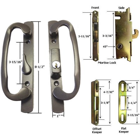 Sliding Glass Patio Door Handle Kit with Mortise Lock and Keepers, B-Position, Latch Lever is Off-Centered, Bronze, Keyed ()
