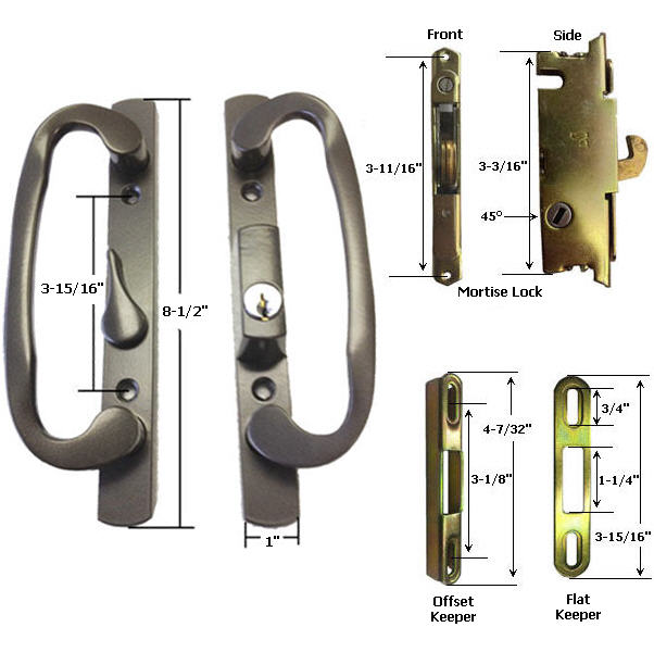 Sliding Glass Patio Door Handle Kit with Mortise Lock and Keepers, B-Position, Latch Lever is Off-Centered, Bronze, Keyed