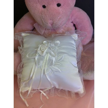 Wedding Ceremony White Wedding Ring Bearer Pillow with embroidery rose