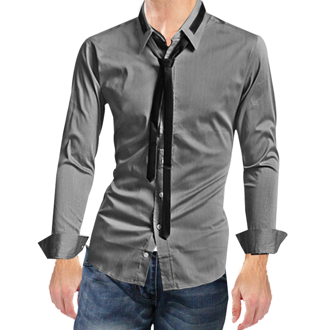 Azzuro Men's Stylish Long Sleeve Point Collar Button Closure Simple Shirt
