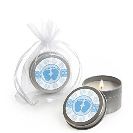 Baby Shower Candles (Baby Feet Blue - Baby Shower Candle Tin Party Favors (Set of)