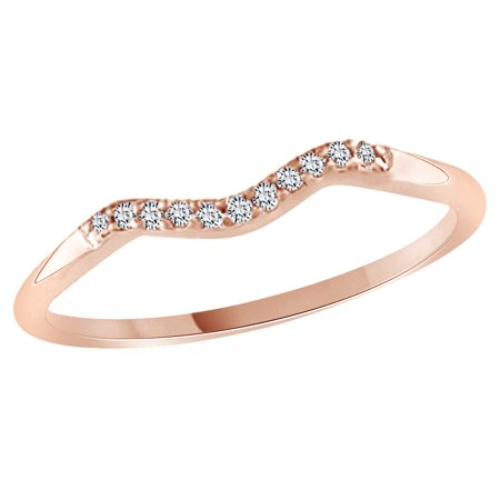 Round Cut White Cubic Zirconia Curved Wedding Band Ring In 14k Rose Gold Over Sterling Silver
