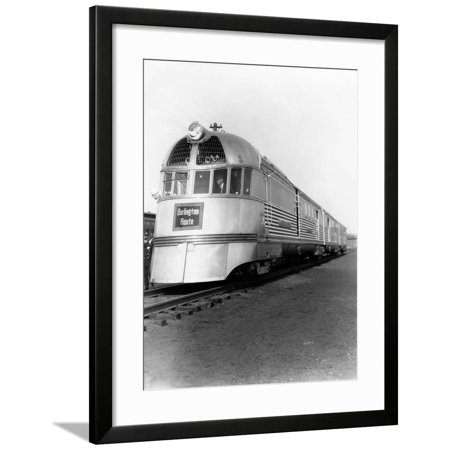 1930s Zephyr Train Engine Cars in Perspective Burlington Route Railroad Framed Print Wall Art](Party Store In Burlington Ma)