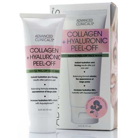 Advanced Clinicals Collagen + Hyaluronic Acid Anti-Aging Peel-Off Face Mask  Hydrating, Tightening, & Firming Vegan Peel Off Face Masks  Smooth Wrinkles & Pores, Brighten, & Even Skin Tone, 3.4