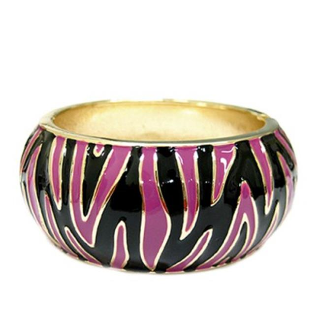 C Jewelry Multicolor Black And Pink Animal Print Enamel Hinged Bracelet