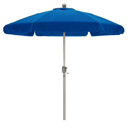 Sunline 7.5' Patio Market Umbrella in Spun Polyester with Champagne Aluminum Pole Fiberglass Ribs 3-Way Tilt Crank Lift Valance Trim