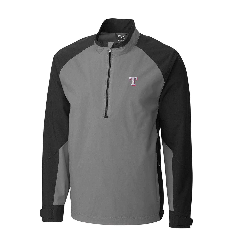 Men's Cutter & Buck Gray/Black Texas Rangers Summit WeatherTec Half-Zip Pullover Jacket