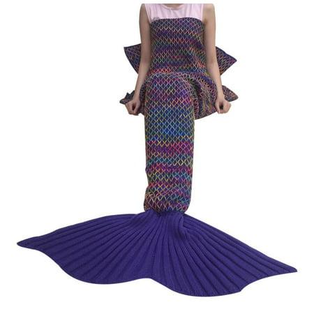 DDMY Mermaid Tail Blanket Crochet For Kids Teens Adult All Seasons Sleeping