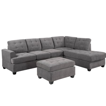 """3-piece Sectional Sofa and Chaise Lounge Sets with Storage Ottoman, 105"""" x 79.6"""" x 31.5'' Modern Tufted Soft Microfiber Sofa and Couch with 2 Pillows, Upholstered Sofas with Wood Frame, 600lbs, S1724"""