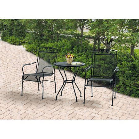 Strange Mainstays Jefferson Wrought Iron 3 Piece Bistro Set Black Seats 2 Gamerscity Chair Design For Home Gamerscityorg