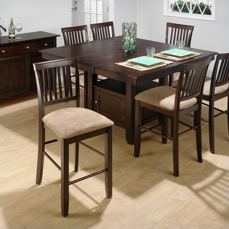 Jofran 5 Piece Counter Height Dining Room Set in Baker's Cherry by Jofran