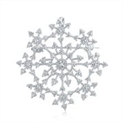Snowflake Brooch Pin Round CZ Prong Setting Pendant Rhodium Plated