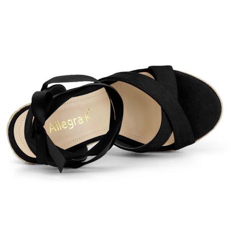 Allegra K Sandales compensées à lacets et espadrilles pour femmes Noir 40.5 EU - image 6 de 7