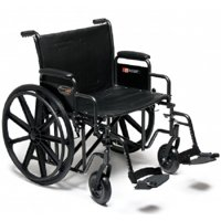 Traveler HD Extra Heavy Duty Bariatric Wheelchair  Removable Full Arm Mag Black 24 Inch 500 lbs.
