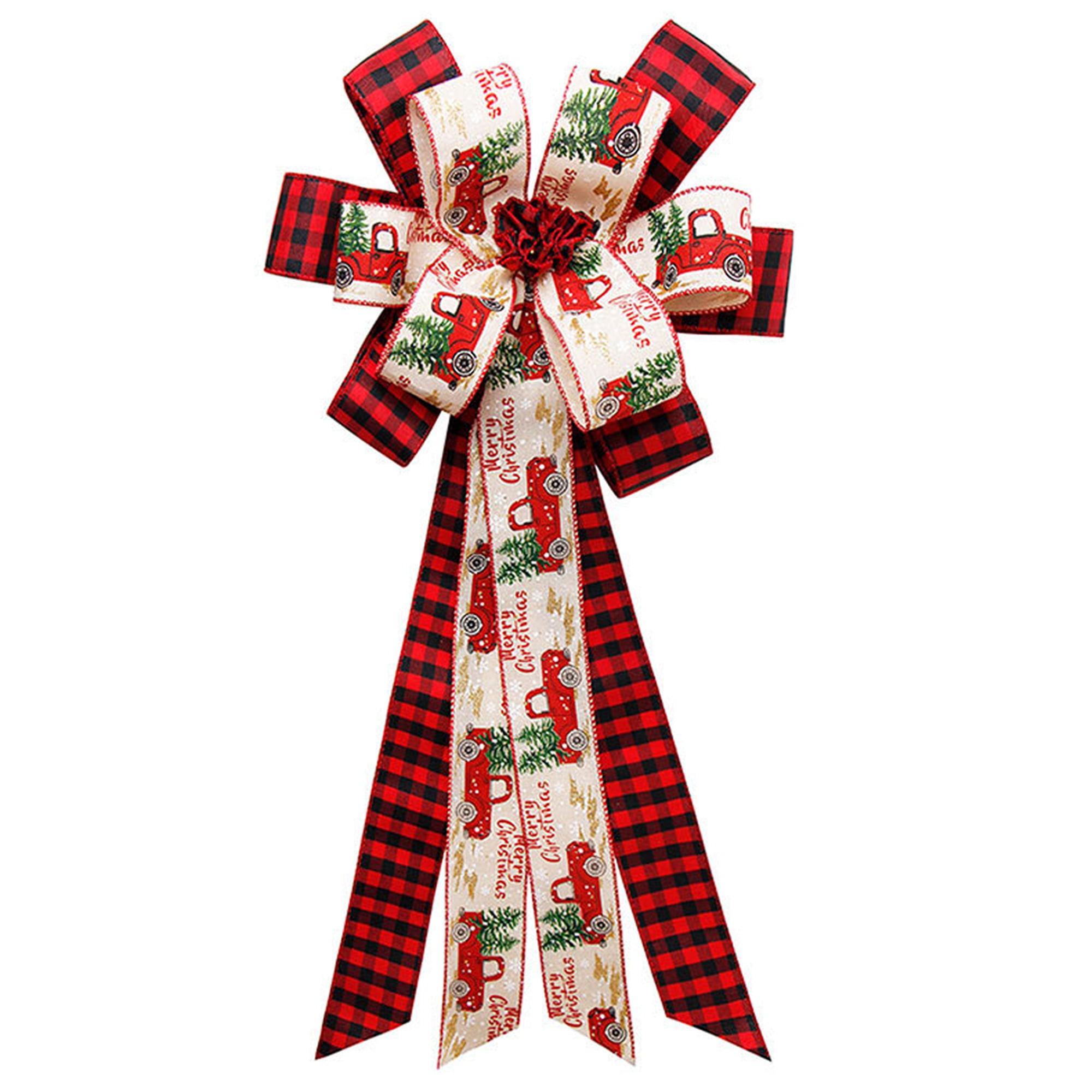 Mersariphy Christmas Tree Topper Rustic Buffalo Plaid Decorative Bow For Holiday Home Party Decor Walmart Com Walmart Com