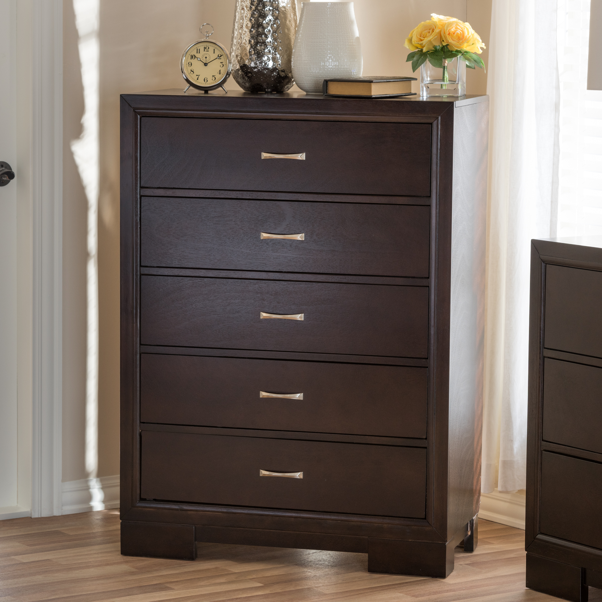 Baxton Studio Padma Modern and Contemporary Walnut Brown Finished Wood  5-Drawer Chest