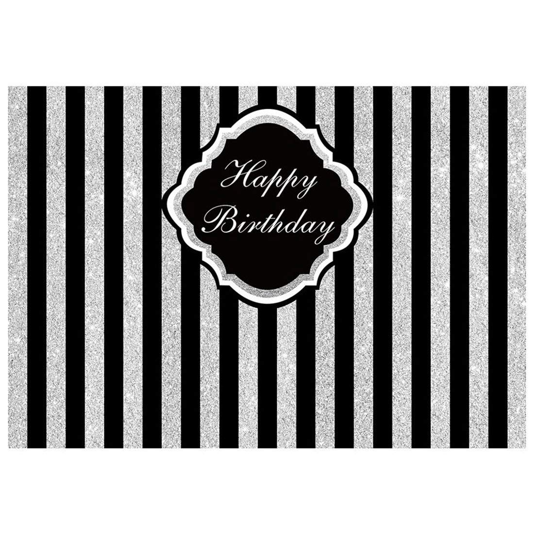 Abphoto Polyester 7x5ft Photography Backdrops Adults Children Glitter Stripes Happy Birthday Party Banner Studio Booth Background Silver Black Walmart Com Walmart Com