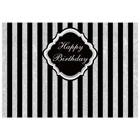 ABPHOTO Polyester 7x5ft Photography Backdrops Adults children Glitter Stripes Happy Birthday party banner studio booth background, Silver+Black