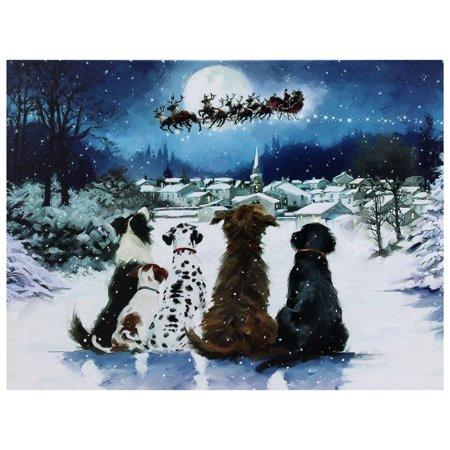 "LED Fiber Optic Lighted Dogs Watching Santa Claus Christmas Wall Art 12"" x 15.75"""