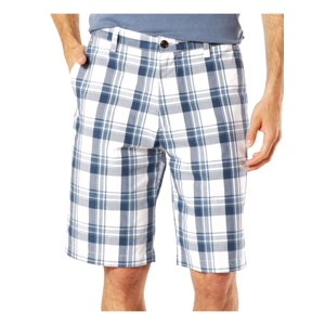 Dockers Mens White Plaid Classic-Fit Perfect Shorts 44