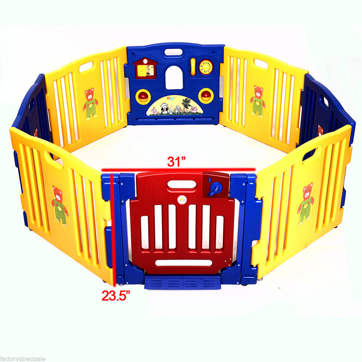 GHP 8-Panel Baby Kids Safety Playpen with Activity Board & Swinging Hinged Doors