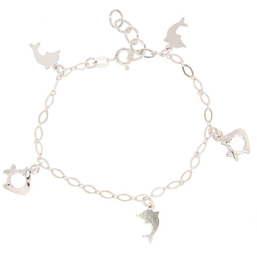 Pori Jewelers CZ Sterling Silver Flat Dolphin and Fish Charm Bracelet, 6