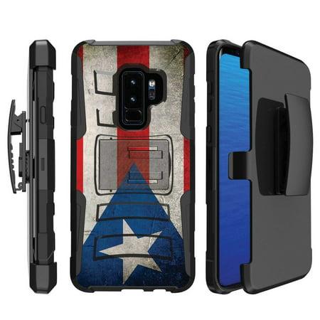 [Naked Shield] Samsung Galaxy S9Plus / S9 PLUS [Black] Military Combat Armor Case (Holster) (KickStand) [Flag Puerto Rico Print]
