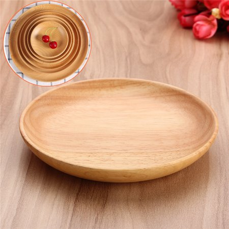 Round Wood Plate Breakfast Food Dish Snack Serving Tray Salad Bowl Platter 15cm - image 6 of 6