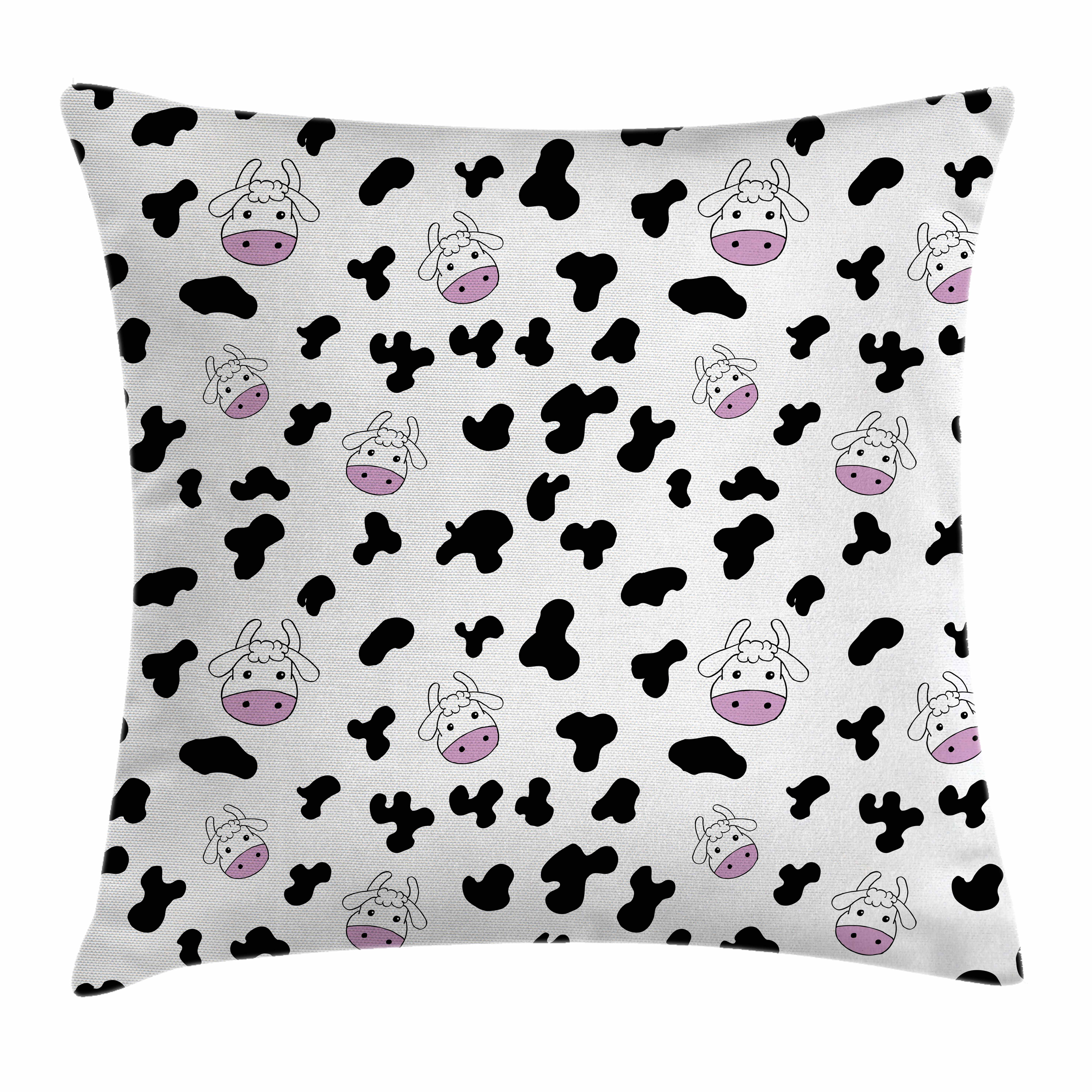 Cow Print Throw Pillow Cushion Cover, Animal Cow Hide Pattern Doodle Cartoon Children Drawing Farming Husbandry, Decorative Square Accent Pillow Case, 16 X 16 Inches, Black White Pink, by Ambesonne