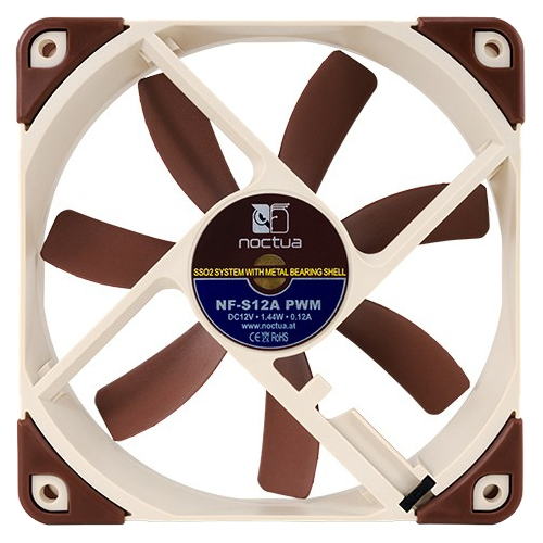 Noctua NF-S12A PWM Noctua NF-S12A PWM Cooling Fan - 1 x 120 mm - 1200 rpm - SSO2 Bearing - Metal, Silicon