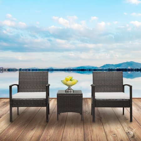 Hommoo Patio Furniture Set, 3-Piece Wicker Rattan Outdoor Garden Lawn Pool Backyard Sofa Conversation Set with Weather Resistant Cushions and Tempered Glass Tabletop ()