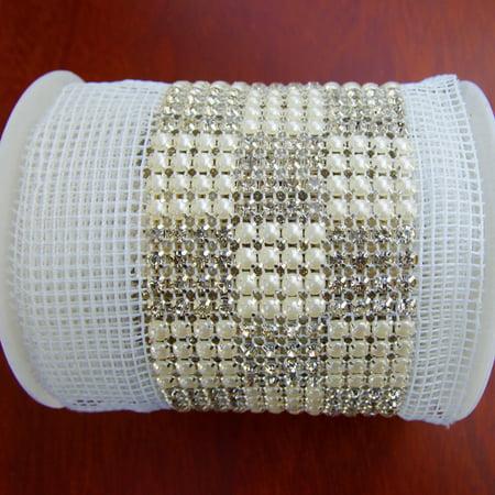 Rhinestone & Pearls Trim Square Cake Ribbon, 2-1/2-inch, 3-yard