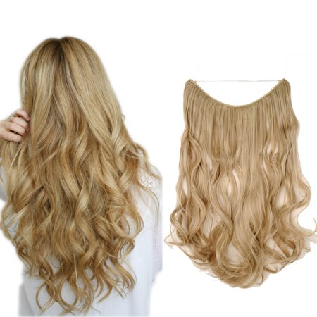 S-noilite Curly Miracle Secret Invisible Wire Hair Extensions No Clip No Glue Synthetic Hairpieces 1 pcs Sandy Blonde & Bleach Blonde,20