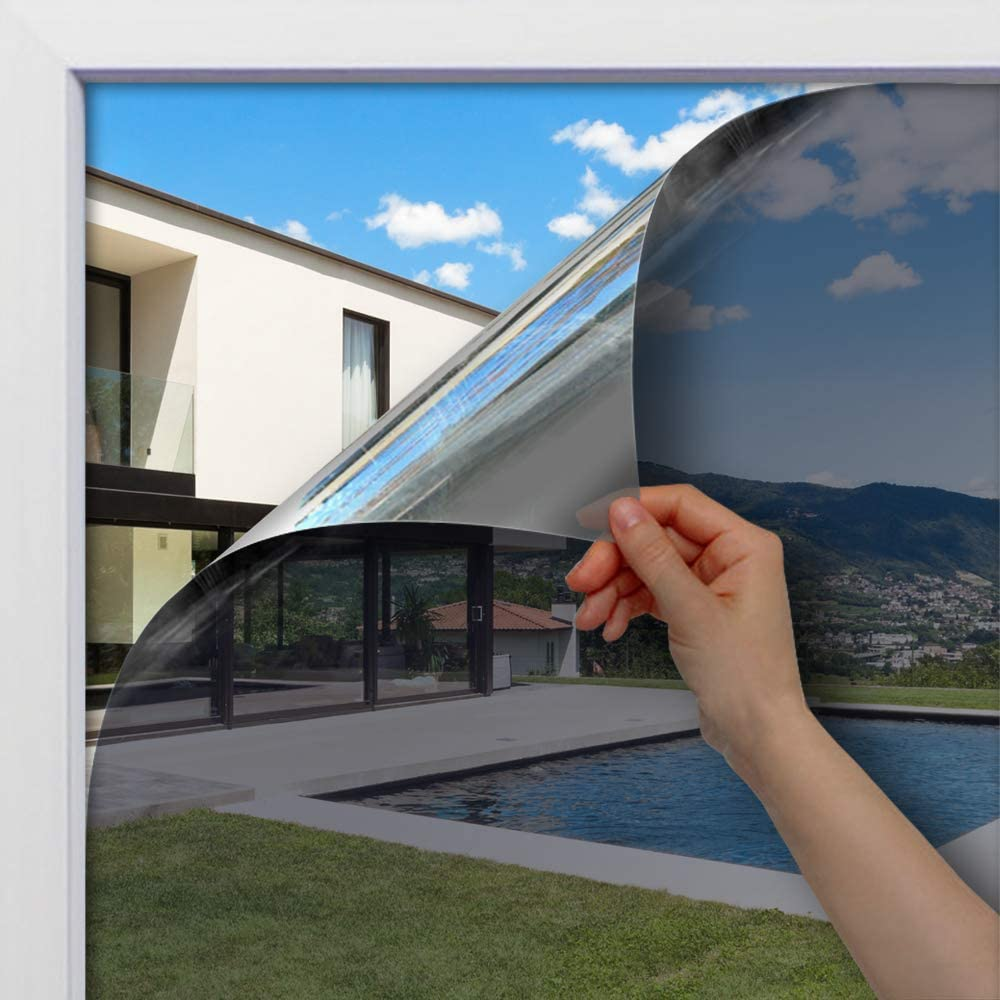 Silver /& Blue BDF 1SBL Static Cling Non-Adhesive One Way Heat Rejection Daytime Privacy Window Film 35.4in X 14ft