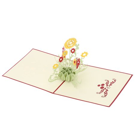 3D Handmade Pop Up Birthday Card kirigami Folding Christmas Greeting Postcard with Envelop for Valentine's Day Sunflower (Valentine Greeting Postcard)