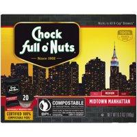 Chock full o'Nuts Midtown Manhattan K-Cup Coffee Pods, Medium Roast, 20 Count Box