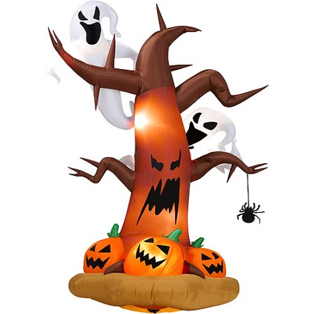8' Tall Airblown Halloween Inflatable Dead Tree with Ghost on Top/Pumpkins on Bottom - Inflatable Halloween Props