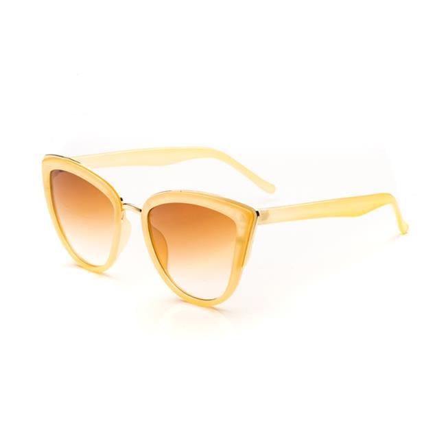Pop Fashionwear P2263-BEG-GRDBRN Retro Metal Cat Eye Sunglasses, Beige & Gradient Brown Lens