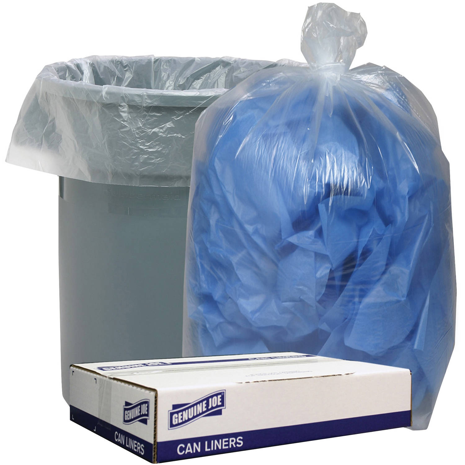 Genuine Joe Clear Low Density Can Liners, 100 count