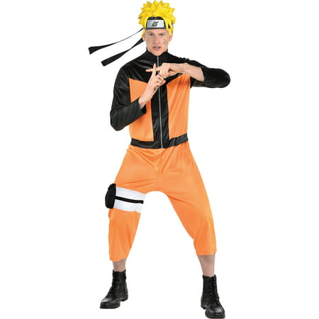 Party City Naruto Costume for Adults, Includes Black and Orange Zip Jumpsuit, Holster, and Headpiece