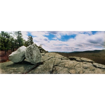 Boulder along the Gertrudes Nose Minnewaska State Park Catskill Mountains New York State USA Stretched Canvas - Panoramic Images (36 x 12)